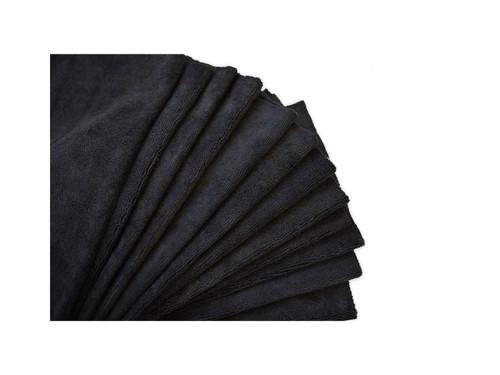 "16""x16"" 20 Pack Ultra Edgeless Microfiber Towels Black"
