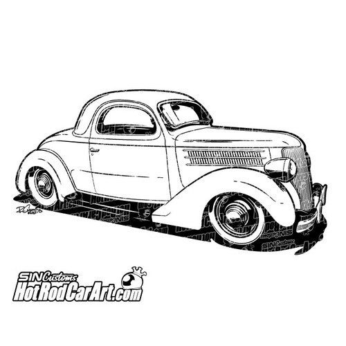automotive clip art 1956 Ford Panel Truck 1936 ford coupe hot rod clip art