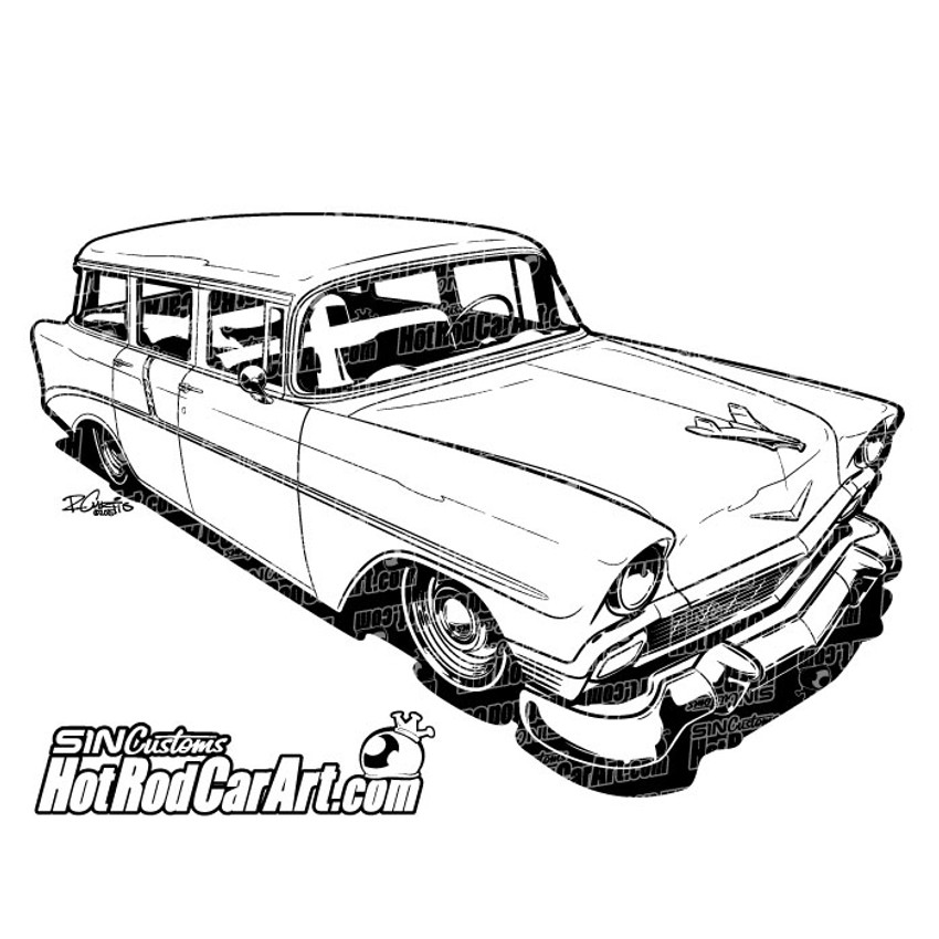 1956 chevrolet nomad hot rod car art 1970 Ford Econoline write a review