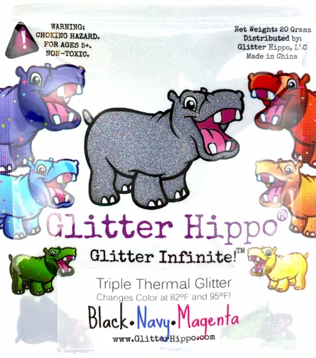 Triple Thermal Glitter - Black/Navy/Magenta - Heat Activated Color Changing Glitter Thermochromic