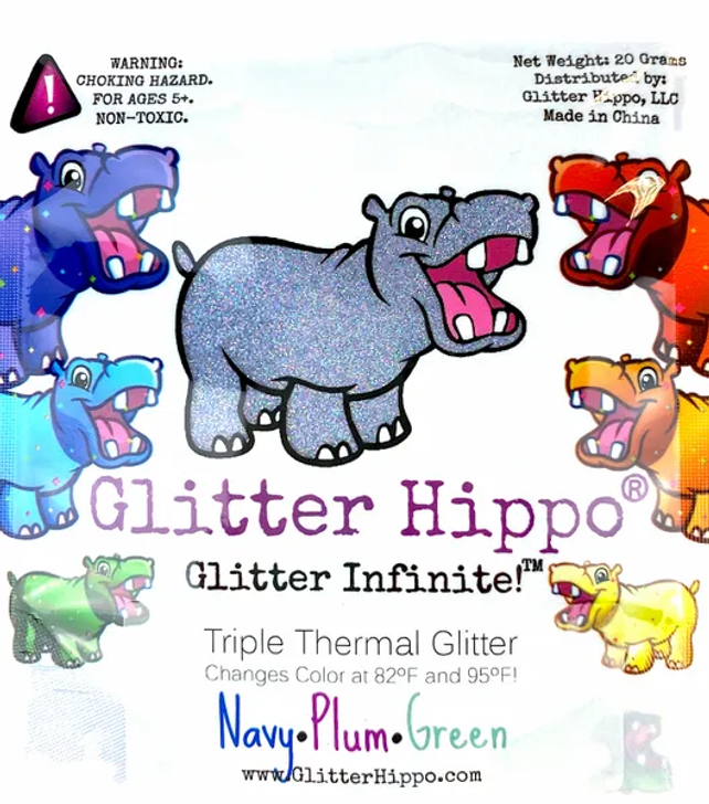 Triple Thermal Glitter - Navy/Plum/Green - Heat Activated Color Changing Glitter Thermochromic