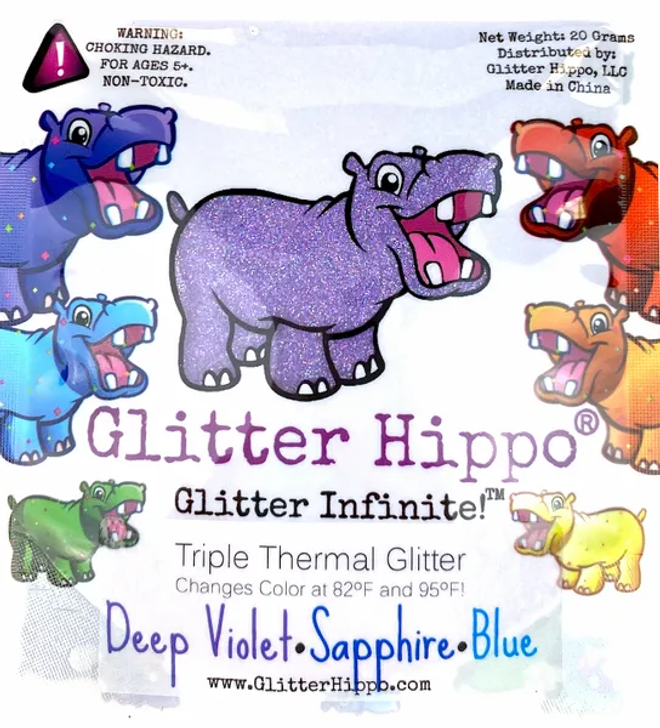 Triple Thermal Glitter - Deep Violet/Sapphire/Blue - Heat Activated Color Changing Glitter Thermochromic