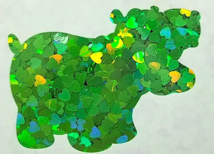 Holographic Shape Glitter - Green Hearts  - Glitter Hippo®