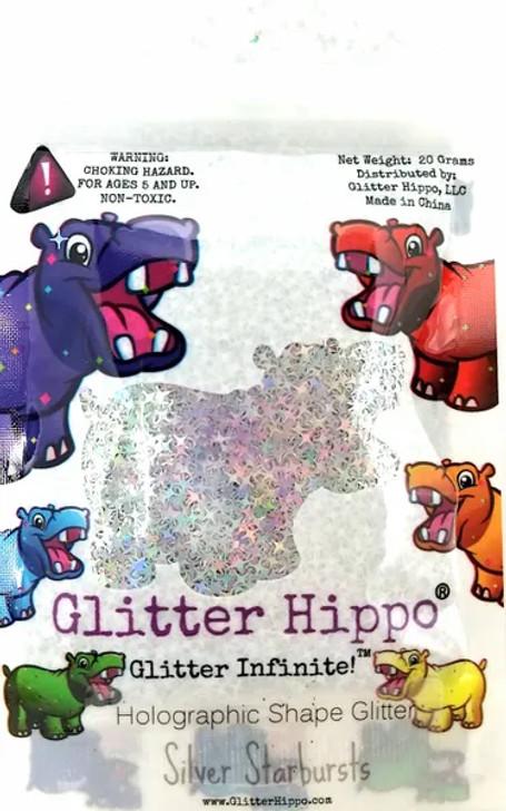 Holographic Shape Glitter - Silver Starbursts  - Glitter Hippo®