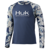 HUK H7120051 Youth Refraction Double Header Performance Shirt Refraction Bluefin - Front