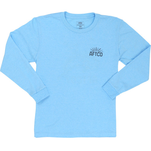 Aftco LST Youth Bullrider T-Shirt Neon Sky Blue Heather - Front