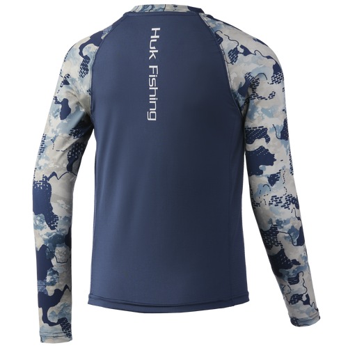 HUK H7120051 Youth Refraction Double Header Performance Shirt Refraction Bluefin - Back