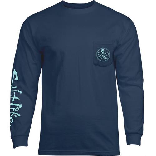Salt Life SLM10269 Skull and Hooks LS T-Shirt WashedNavy - Front
