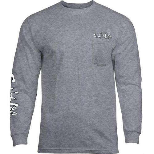 Salt Life SLM10842 Crossed Bills LS T-Shirt AthleticHeather - Front