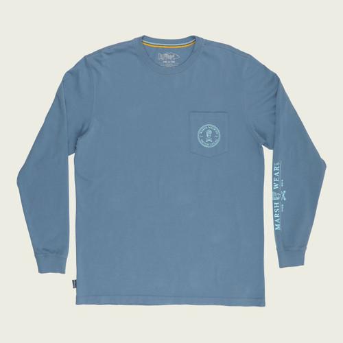 Marsh Wear MWT2015 Shuck Local LS T-Shirt Blue - Front
