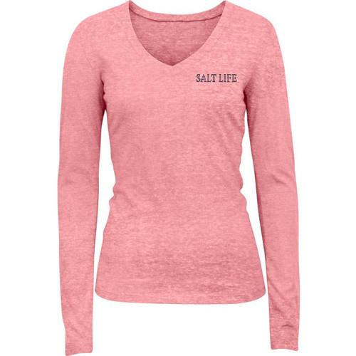 Salt Life SLJ10547 Set You Free LS T-Shirt Flamingo - Front