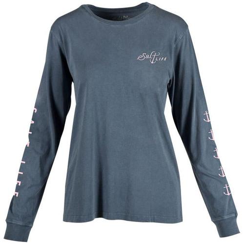Salt Life SLJ10571 Salty Anchor LS T-Shirt WashedNavy - Front