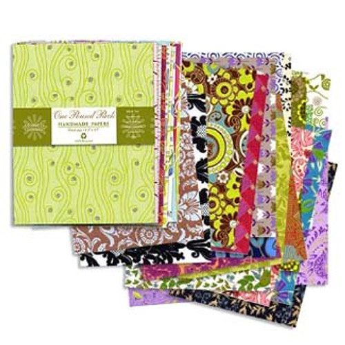 Shizen Design Indian Screenprinted Paper with Glitter 15 H x 11 W Pack of 24 12 Designs