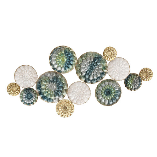 """38.58"""" X 2.56"""" X 18.5"""" Multi-color Textured Plates Metal Wall Decor"""