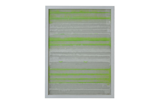 """11"""" x 2"""" x 32"""" White And Green, Fabric And Glass - Shadow Box"""