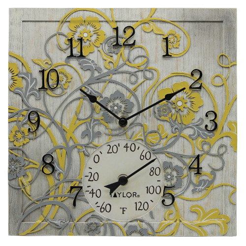 Taylor Precision Products 14-inch X 14-inch Beachwood Clock With Thermometer