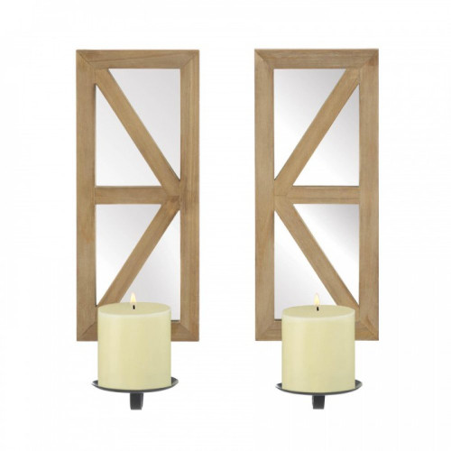 Mirrored Wood Candle Sconce Set
