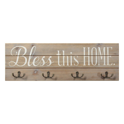 """18"""" X 1.5"""" X 6"""" White Bless This Home Wood Hooks"""