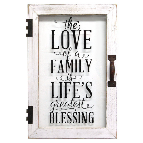 """12"""" X 1.5"""" X 18"""" Distressed White Life'S Blessings Printed Glass Decor"""