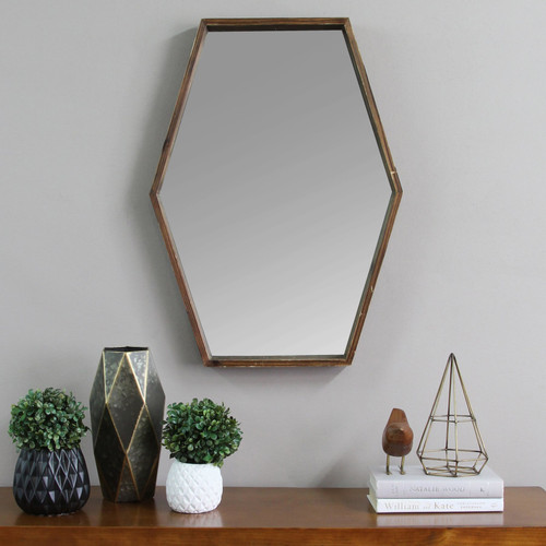 """20.47"""" X 1.97"""" X 27.5"""" Handcrafted Wood Mirror With Decorative Frame"""