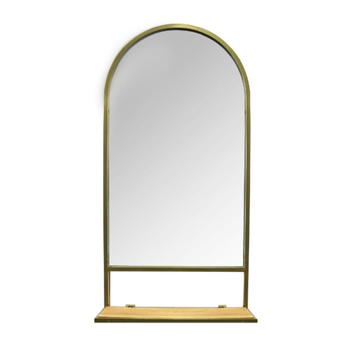 """16.14"""" X 5.31"""" X 31.89"""" Gold Natural Metal Glass Mdf Mirror with Collapsible Shelf"""