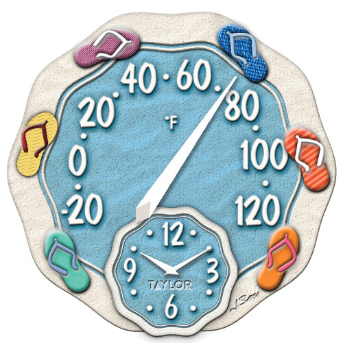 Taylor Precision Products 12-inch Sandals Thermometer With Clock
