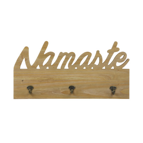 Greeting Wooden Wall Decor with Hooks