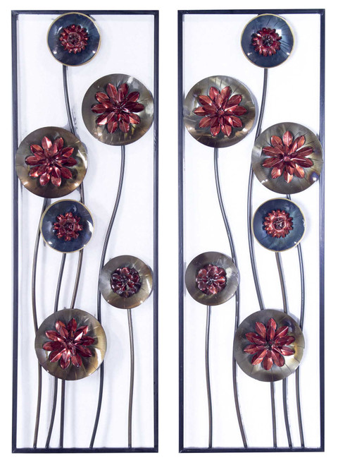 Metallic Multi-Color Abstract Red Floral Vertical Wall Art Set