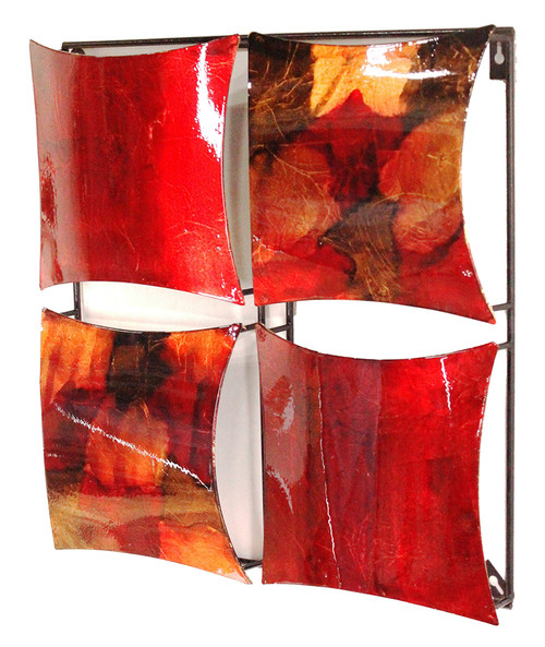 """16"""" X 2"""" X 16"""" Copper, Red And Gold Metal 4-Panel Square Wall Decor"""