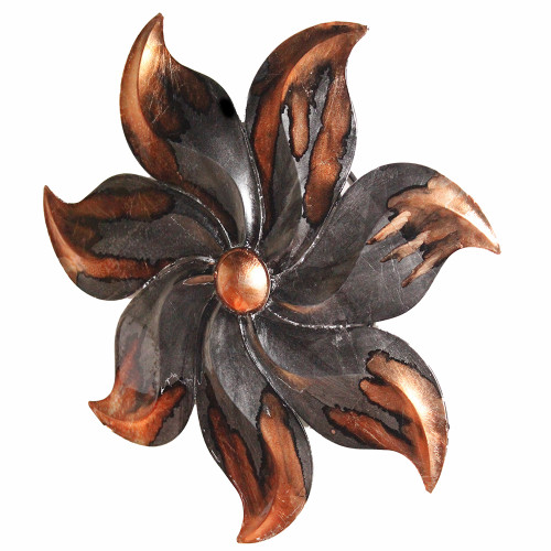 """17.25"""" X 2"""" X 17.25"""" Copper And Pewter Metal Small Flower Metal Wall Decor"""