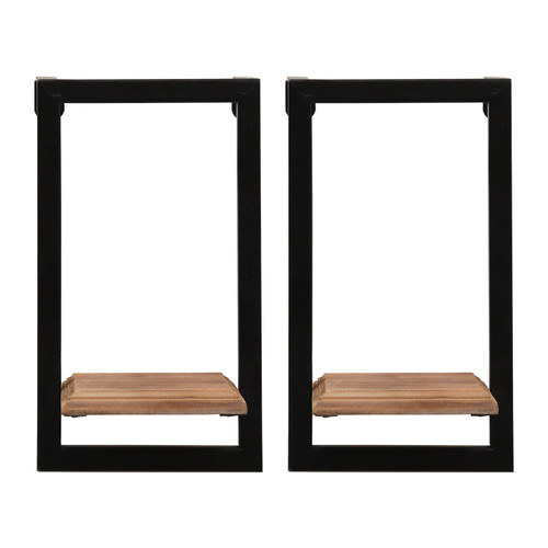 Set of Two Black Metal and Wood Shelves