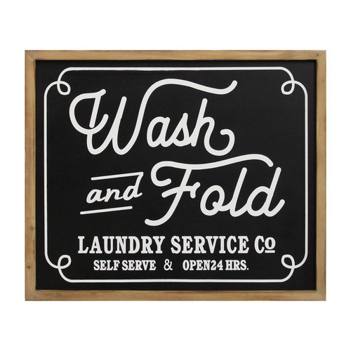 Wash and Fold Vintage Look Wood Framed Wall Art
