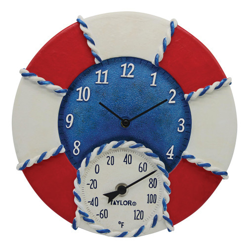 Taylor Precision Products 14-inch Life Preserver Clock With Thermometer