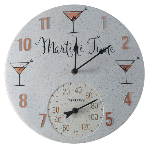 Taylor Precision Products 14-inch Clock With Thermometer (martini Time)