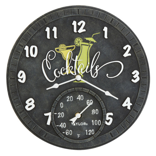 Taylor Precision Products 14-inch Clock With Thermometer (cocktails)