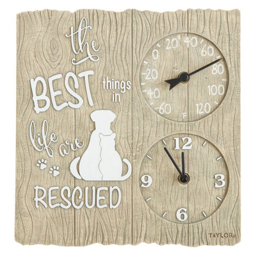 Taylor Precision Products 14-inch Clock With Thermometer (pet Rescue)