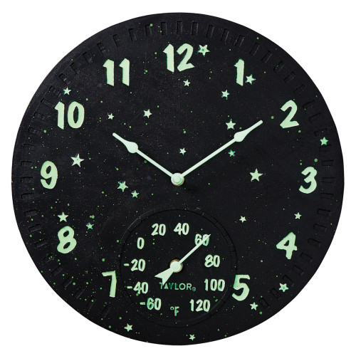 Taylor Precision Products 14-inch Clock With Thermometer (galaxy)