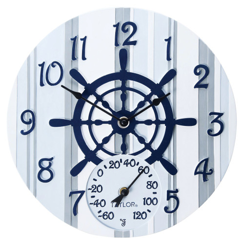 Taylor Precision Products 14-inch Clock With Thermometer (captain's Wheel)