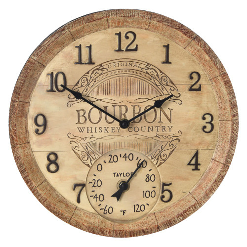 Taylor Precision Products 14-inch Clock With Thermometer (bourbon Barrel)