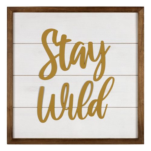 White and Gold Stay Wild Wall Art