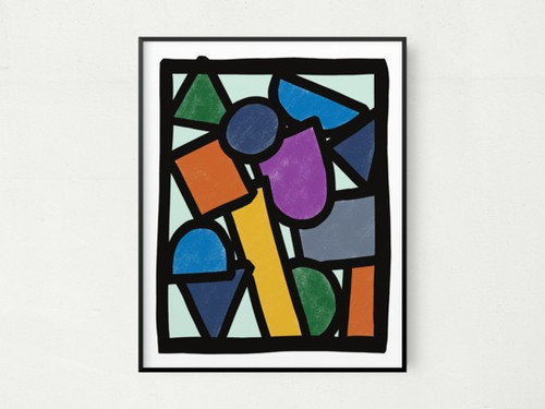 """11"""" x 14"""" Contemporary Elementary Abstract Wall Art"""