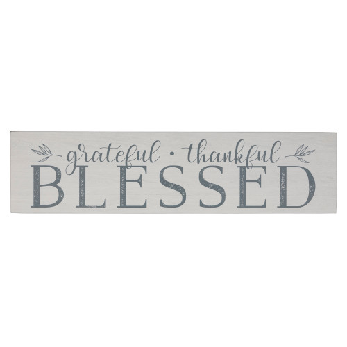 Gray and White Grateful Thankful Blessed Wall Art