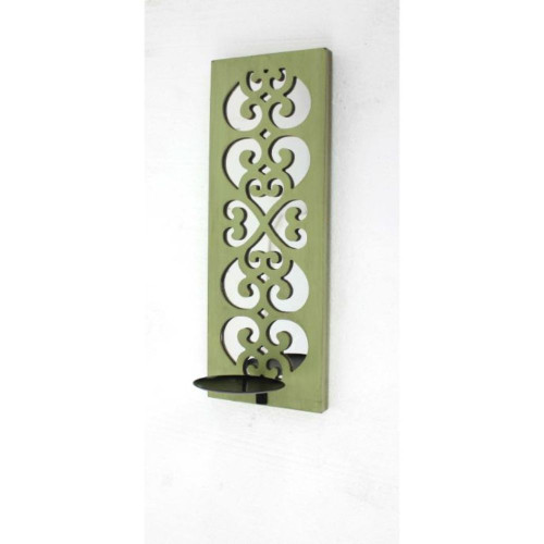 """17"""" x 5"""" x 6"""" Green, Wood, Mirror - Candle Holder Sconce"""