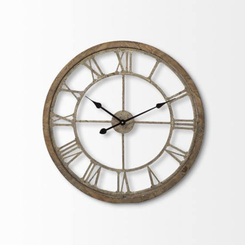 """25"""" Round Large BrownFarmhouse style Wall Clock"""