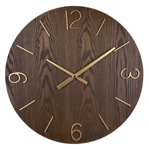 Classy Dark Stain Gold and Wood Wall Clock