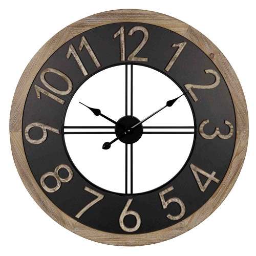 Industrial Chic Wood and Metal Wall Clock