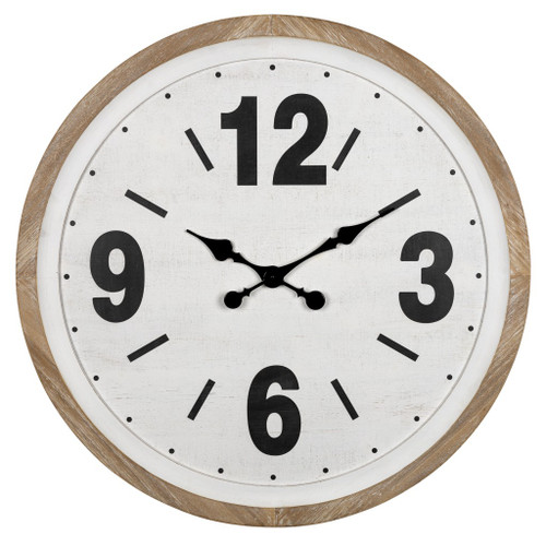 Rustic Natural White Wooden Wall Clock