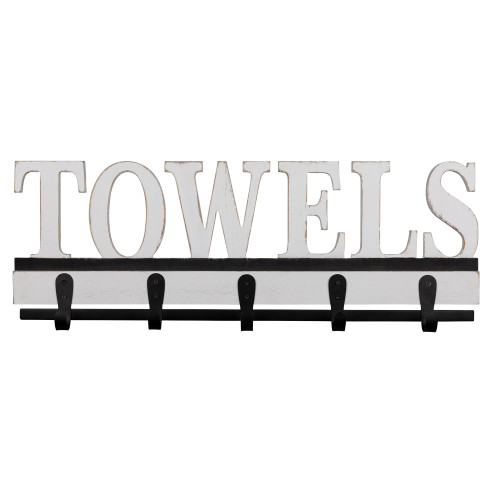 Distressed White Towels Wall Hooks