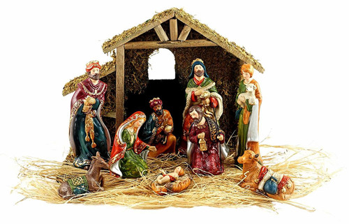 Holy Family 10-Piece Holiday Nativity Set with Stable and Hay