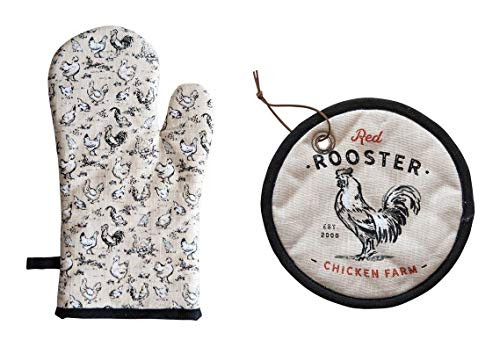 Country Red Rooster Chicken Farm Oven Mitt & Pot Holder Set